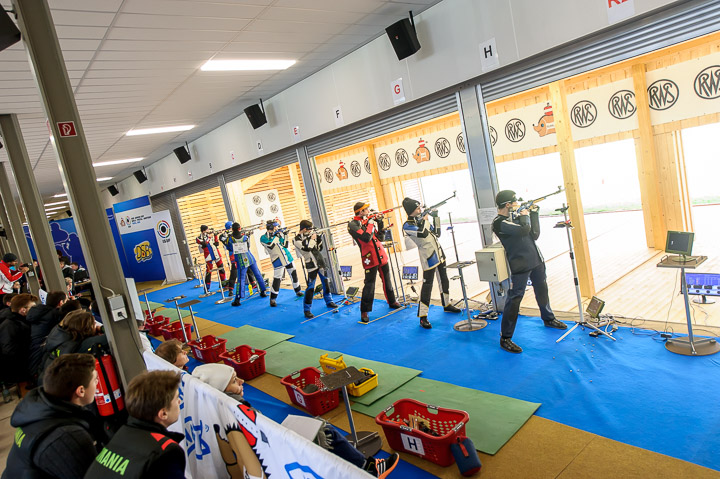 SUHL - MAY 4: Athletes compete in the 50m Rifle 3 Positions Men Junior Event at the Shooting Center Suhl during Day 4 of the ISSF Junior World Cup Rifle/Pistol/Shotgun on May 4, 2016 in Suhl, Germany. (Photo by Nicolo Zangirolami)