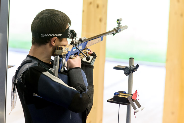 SUHL - MAY 4: 8th placed Timur AKHMEDZHANOV fo the Russian Federation competes in the 50m Rifle 3 Positions Men Junior Finals at the Shooting Center Suhl during Day 4 of the ISSF Junior World Cup Rifle/Pistol/Shotgun on May 4, 2016 in Suhl, Germany. (Photo by Nicolo Zangirolami)